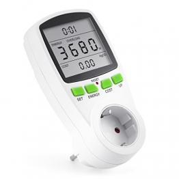 Arendo Energiekostenmessgerät | Stromverbrauchszähler | Zeit/Energy/Cost-Anzeige | 3680W | Kinderschutzsicherung -