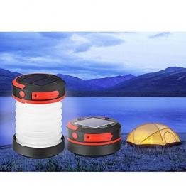 Liqoo® LED Campinglampe Solar Campingleuchte Camping Zelt Laterne Wasserdicht Faltbar Tragbar Zusammenklappbar Taschenlampe mit SOS und Power Bank Funktion, mit USB und Solarpanel aufgeladen -