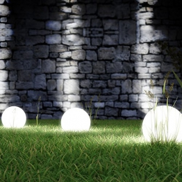 Solarlampe mit LEDs Gartenlampe wetterfest IP44 Kugelleuchte (Größenwahl) -